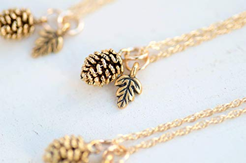 Pinecone Necklace, Mini Pinecone with Leaf Charm, 18 inches, 14K Gold-filled rope chain