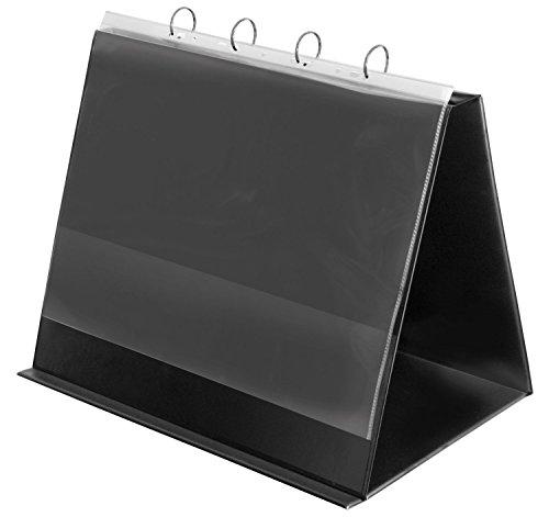 Veloflex 4132280 Tisch-Flipchart A3, Präsentation, Flipchart, Aufstellringbuch, aus PVC, Querformat, schwarz