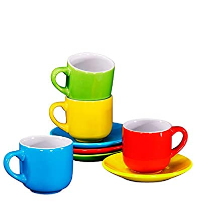 Bruntmor 4 Oz Espresso Cups And Saucers Set, Made Of Pro-grade Porcelain That's Chip Resistant, BPA, Cadmium And Lead Free, Microwave, Oven and Dishwasher Safe (Set Of 4, Multi-Color)