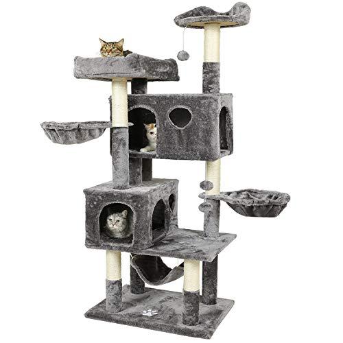 MSmask Kratzbaum für große Katzen, 173 cm Kratzbaum groß mit 2 Katzenhöhlen Stabiler Katzenbaum mit Sisal-Kratzstangen, 2 Plattformen, 2 Korb, Hängematte, Plüschball (Hellgrau)