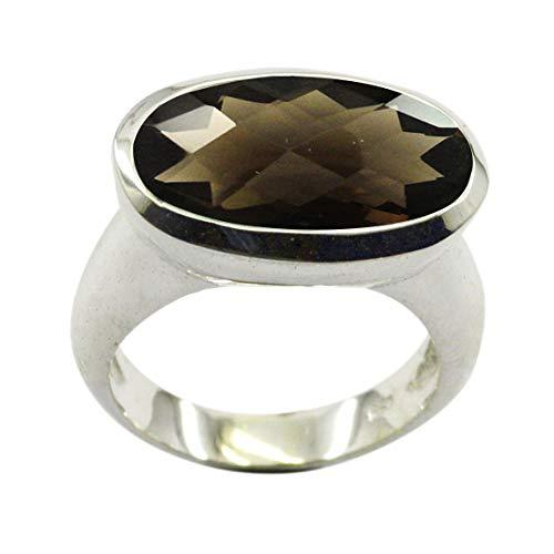 Gemsyogi Unisex Herren Damen - Sterling-Silber 925 Sterling-Silber 925 Oval Brown Rauchquarz - natürlich