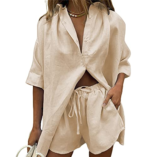 Women 2 Piece Casual Tracksuit Outfit Sets Cotton Linen Long Sleeve Button Down Shirt And High Waisted Shorts Clothes (Creamy White, M)