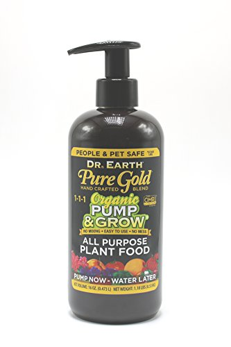 Dr. Earth Organic & Natural Pump & Grow Pure Gold All Purpose Plant Food 16 oz, Black