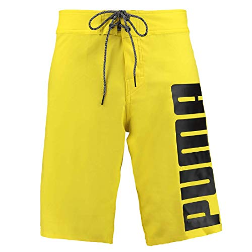PUMA Herren Lange Badehose Badeshorts Long Board Swim Shorts, Farbe:Yellow, Bekleidungsgröße:L