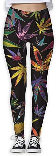 MODORSAN Pantalones de Mallas de Yoga para Gimnasio Deportivo con Estampado Trippy de malezas de Marihuana para Mujer