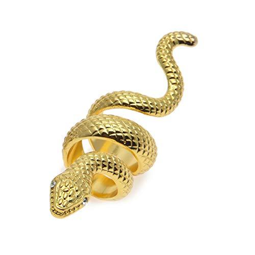 Moca Jewelry - Anillo con forma de serpiente chapado de 18quilates, con circonita cúbica, diseño pulido, unisex