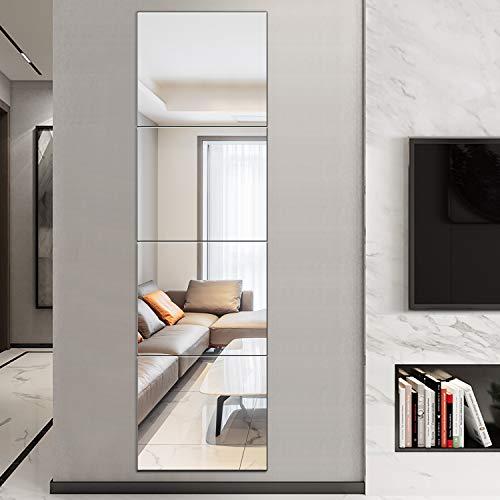 "BEHOME 12"" X 16"" (4 Piece) Full Length Mirror Frameless Glass Wall Mirror Sheet Rectangular Self Adhesive Combination HD Vanity Mirror Tiles for Bedoom Living Room Wall Decor"
