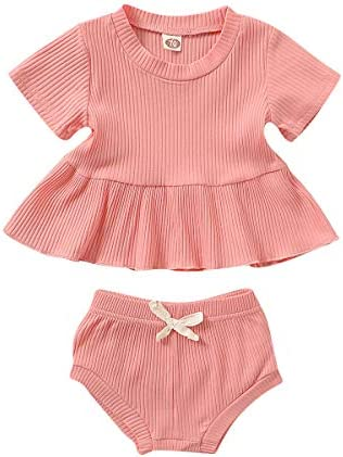 Baby Girl Clothes Set Short Sleeve Solid Shirt Shorts Bloomers 2Pcs Infant Outfits for Girls product image