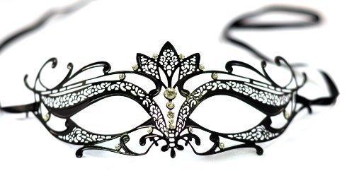 The Rubber Plantation TM 5014761060208 Verona Mascarade de style vénitien en filigrane en métal découpé au laser avec cristaux et liens satinés Boule de fête unisexe adulte Noir Taille unique