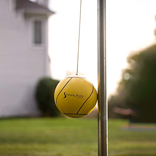 Sterling Sunnywood Sports Tetherball Set for Outdoor Backyard with Ball, Rope and Pole 10'4