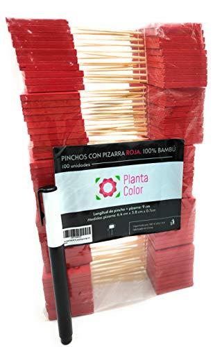 Planta Color Pack 100 Mini Carteles Rojos (Madera de Bambú) para Decoración...