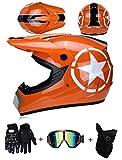 LZSH Casco de moto casco de motocross profesional, casco de cross, MTB, casco infantil, casco con gafas/guantes/máscara, ECE homologado adultos niños quad bike ATV go-kart-helm (E,S: 55-56 cm)