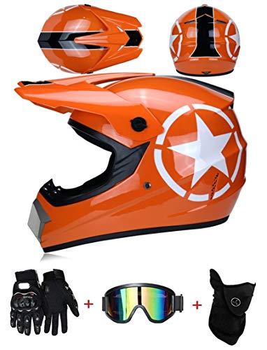LZSH Casco de moto casco de motocross profesional, casco de cross, MTB, casco infantil, casco con gafas guantes máscara, ECE homologado adultos niños quad bike ATV go-kart-helm (E,L: 59-60 cm)