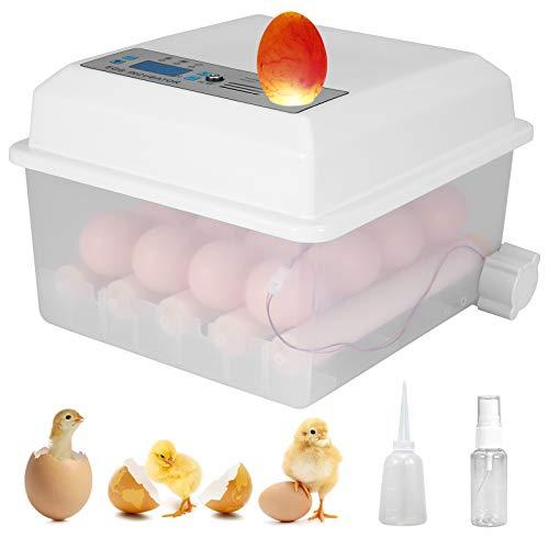 Inkubator Hühner Vollautomatisch mit Temperatur- und Feuchtigkeitsregelung, 16 Intelligentes Digitales Brutmaschine für Hühner/Geflügeleier/Taubeneier/Wachteleier usw.