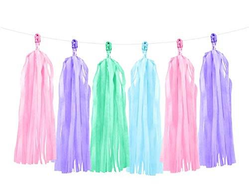 Fancy Me Pastel Mix Tassel Garland Girls Baby Rainbow Unicorn Mermaid Birthday Party Celebration Decorations