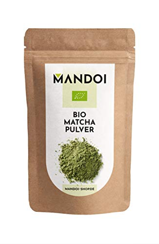 Mandoi BIO Matcha Tee Pulver, 100g Matchapulver, Green tea powder, Grünteepulver ideal für Smoothies, Shakes oder zum backen