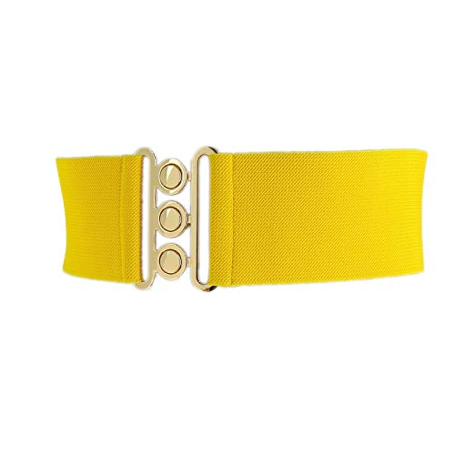FASHIONGEN - Wide Waist Elasticated Woman Belt Made in France, GLORIA - Yellow (Golden), Medium/waist size 30 to 32