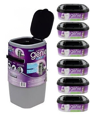 Litter Genie Plus Silver Cat Litter Disposal System and 6 Extra Refills