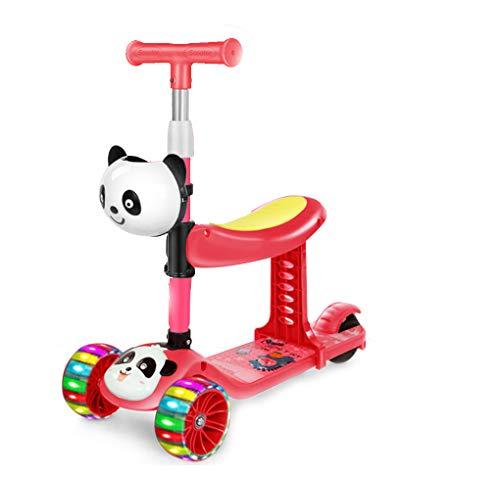 Scooter 3 en 1 para niños, patinete de 3 ruedas, con asiento, manillar en T y ruedas con luz LED, para niños y niñas de 2 a 6 años (rojo)