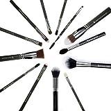 Expert 13pc Makeup Brush Set - Beauty Junkees Professional Make Up Brushes for Full Face Foundation, Contour, Highlighter, Blush, Eyeshadow, Blending, Eyebrows, Labeled, Black,