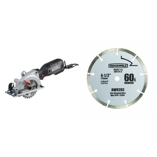 Rockwell RK3441K Compact Circular Saw Kit with 1/2-Inch 60-Grit Diamond Compact Circular Saw Blade