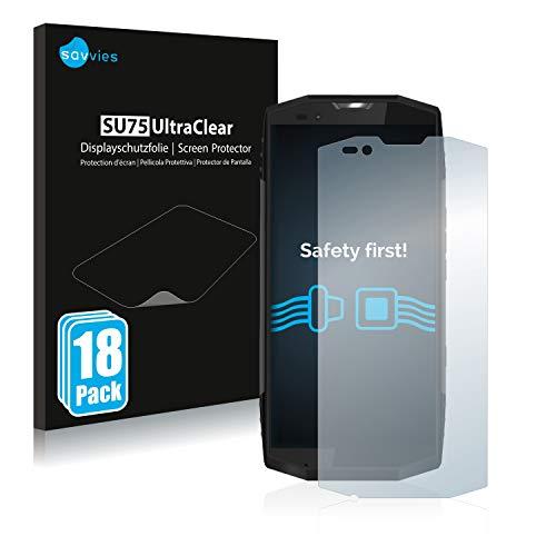 Savvies 18x Schutzfolie kompatibel mit Blackview BV9000 Pro Bildschirmschutz-Folie Ultra-transparent
