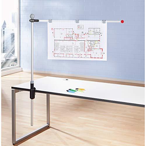 Maul Planhalter Tisch, 1 verstellbarer Schwenkarm 100 cm/DIN A1, inklusive 3 Magnetclips, Aluminium, schwarz/Grau