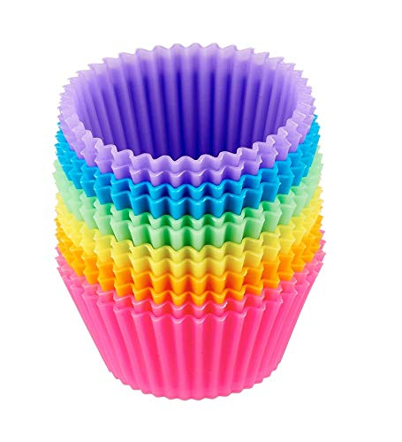 Prefer Green Reusable and Nonstick Silicone Baking Cups/Cupcake Liners/Muffins Cup Molds in storage Container24 Pack
