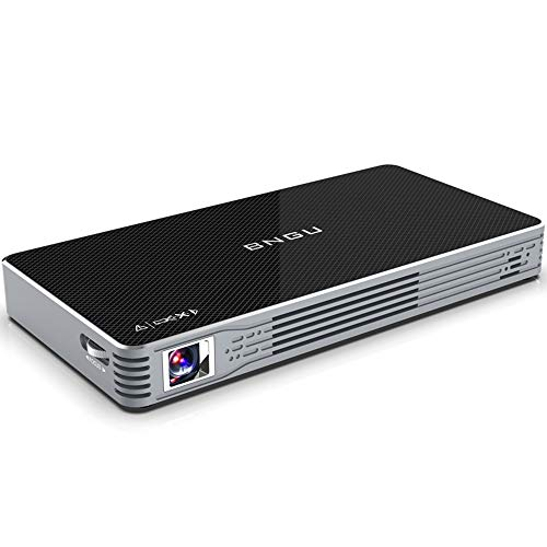 BNGU C800 , Mini Portable Android Projector 7.1 2GB/32GB 100 Anls Pico DLP Projector Built-in Battery with Keystone Korrection and Off-axis Ray Machine Surpport 4K Video / WiFi and USB Screen Share