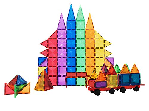 CONNOO Hobaby 82 Piece Diamond Tiles Durable 3D Magnet Building Blocks Magnetic Tiles for Kids Toddlers Boys Girls, Educational STEM Imagination Creativity Toys Gift for Ages 3+