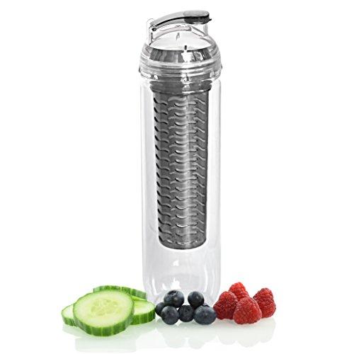RSP GoodLife Szczelna butelka na napoje z wkładem na owoce czarna I 1 x 800 ml butelka sportowa z tritanu bez bisfenolu A (BPA)