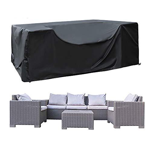 SIRUITON Housse de Meuble Housse Salon de Jardin Housse de Protection pour Meubles de Jardin Imperméable 420D Tissu Oxford Noir (270x180x89cm)