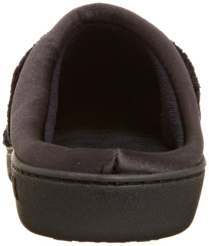 isotoner Women's Signature Microterry PillowStep Satin Cuff Clog Slippers, Black, 5.5-6 B(M) US