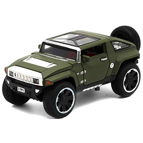 LICCC Modelo de Coche Hummer HX Concept-o-Terreno 1,32 analógico a presión de aleaciones de Juguete Modelo de Coche 1.5x6x5CM (Color, Verde), Oro (Color : Green, Size : One Size)