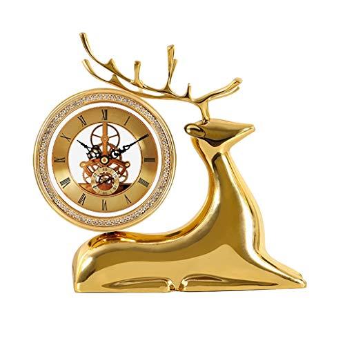 Reloj de escritorio del reloj de tabla de reloj Estante de cobre puro Reloj de mesa escritorio ciervos decoración for la sala del escritorio del hogar del reloj perspectiva imitación mecánica del relo