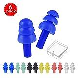 JOJYO - Tapones de Silicona para los oídos, 6 Pares, Impermeables, con Cajas de Almacenamiento para...