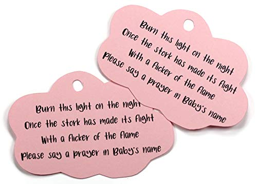 Baby Blue Shower Favor Tags Cloud Shaped Favor Tags with Stork Poem Set of 20