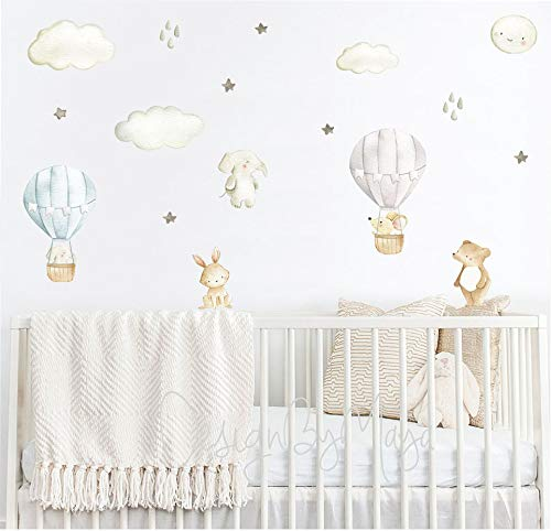Baby 1st Birthday Photoshoot Props Girl Room Wall Decor Letters Nursery Sign Hot Air Balloon Nursery Name Letters for Wall Above Crib