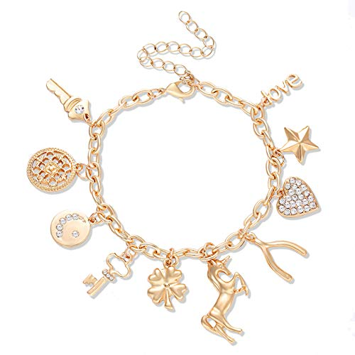 CEALXHENY Women's Charm Bracelet Polished Unicorn Star Clover Drops Rhinestone Paved Heart Pendant Bangle Bracelets (Gold)