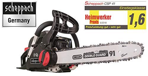 Scheppach CSP41 Kettingzaag op benzine, 2 stuks, 40 cm zwaardlengte, 37,5 cm snijdiameter, automatische kettingsmering en spanning, incl. handbescherming en systeemrem)