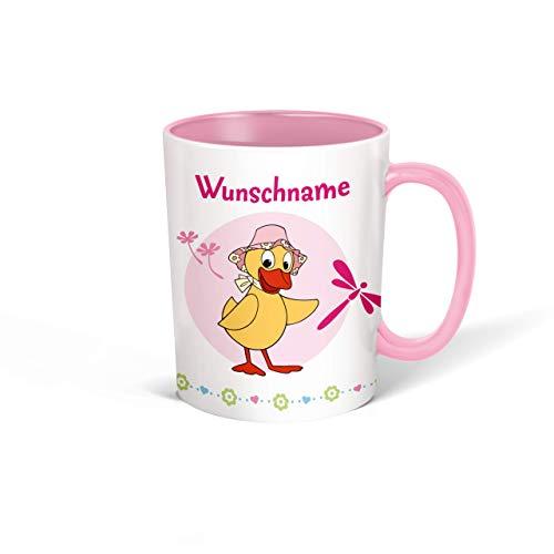 Trötsch Tasse Unser Sandmännchen mit Wunschname personalisierbar, Namenstasse, Teetasse, Kaffeebecher, Geschenkidee zum Geburtstag, Kindertag oder Schulanfang für jung und alt (Rosa Schnatterinchen)