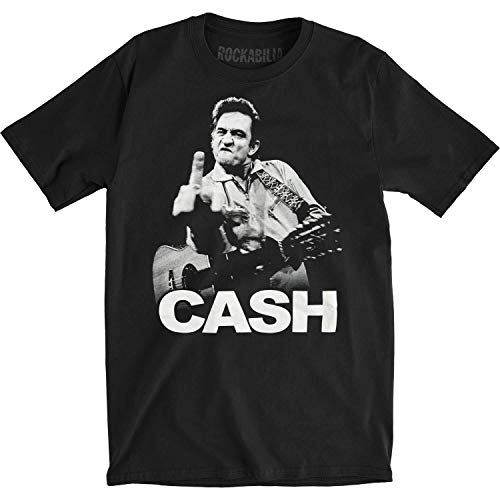 Johnny Cash Flipping the Bird Finger Black Adult T-shirt Tee (XX-Large)