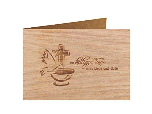 Holzgrußkarte - Taufe, Baby, Geburt - 100{2856d8c341b8059fc8ba34dee098f0da840a62266f35113bd05a26f4d4dc75eb} handmade in Österreich - Postkarte Glückwunschkarte Geschenkkarte Grußkarte Klappkarte Karte Einladung, Motiv:ZUR HEILIGEN TAUFE