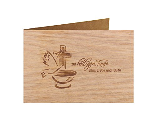 Holzgrußkarte - Taufe, Baby, Geburt - 100% handmade in Österreich - Postkarte Glückwunschkarte Geschenkkarte Grußkarte Klappkarte Karte Einladung, Motiv:ZUR HEILIGEN TAUFE