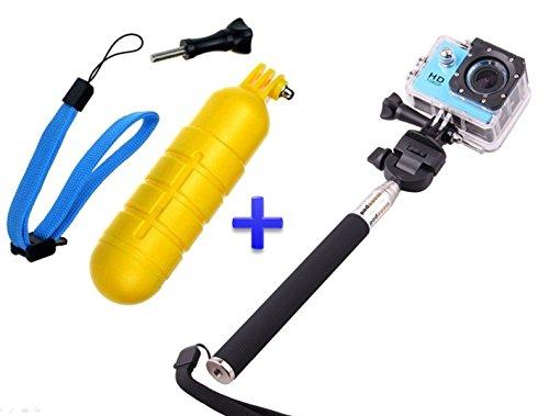 Theoutlettablet Pack Selfie Palo Extensible para cámara Deportiva Sport CAM con Boya Sumergible y Flotante