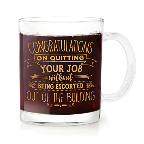 BAD BANANAS Goodbye Farewell Gifts For Coworkers - Congratulations On Quitting Your Job Without Being Escorted Out Of The Building - 13 oz Glass Mug - Coworker Leaving Glass Mug