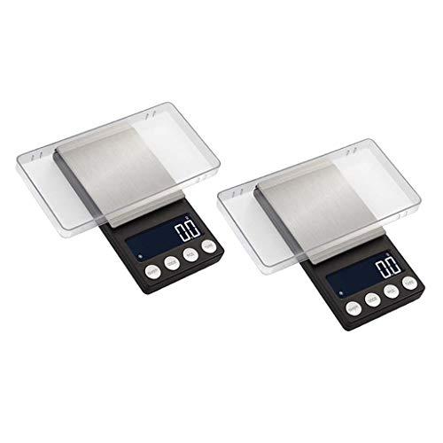 Milageto 2xJewelry Scale Gram Báscula de Bolsillo 100-1000/0.01-0.001g Báscula de Cocina con LCD