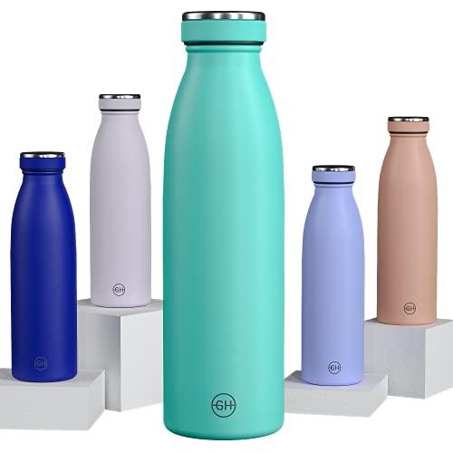 GH Botella de Agua acero Inoxidable 500ml Mar Verde | Frasco de Agua de Metal Reutilizable | Botella Termica Doble pared al vacío | Botella de bebida reutilizable Sin BPA, Antigoteo y Prueba d