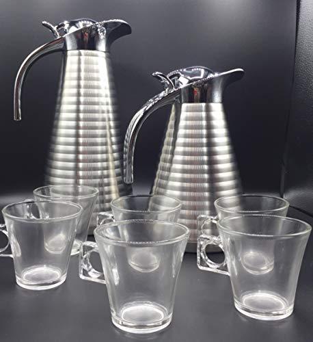 ML 2 jarras termicas de Cafe y Leche - Juego de 2 Jarra para Cafe y Leche Acero hinoxidable y 6 Tazas de Cristal para el Cafe