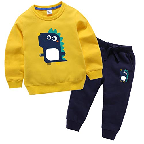 Pokonl Chándales De Bebé para Niños De 1 A 8 Años, 1 Juego De Ropa para Niños Pequeños, Camiseta De Dinosaurio, Camiseta De Manga Larga + Pantalones, Chándal para Niña
